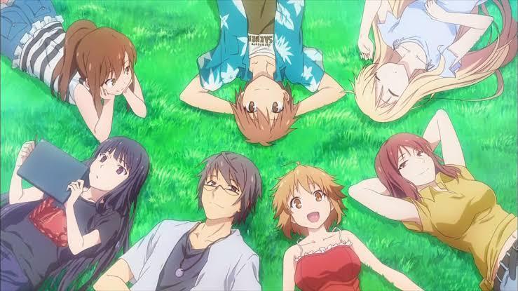 the-pet-girl-of-sakurasou-one-big-happy-family-boys-girls-woman-mashiro-sorata-nanami-ryuunosuke-rita-misaki-jin-chihiro-relaxing-in-the-grass