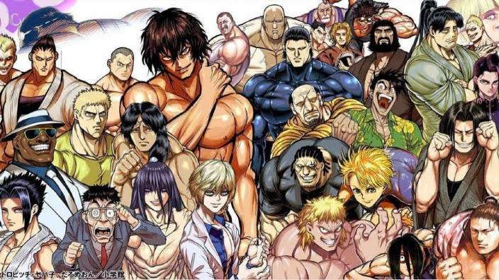kengan-ashura-ouma-tokita-kazuo-yamashita-cosmo-imai-gaolang-wongsawat-jin-sekibayashi-hajime-hanafusa-setsuna-kiryuu-adam-dudley-fang-nikaido-trudeau-akira-kongou-other-anime-guys-cast-muscled-up