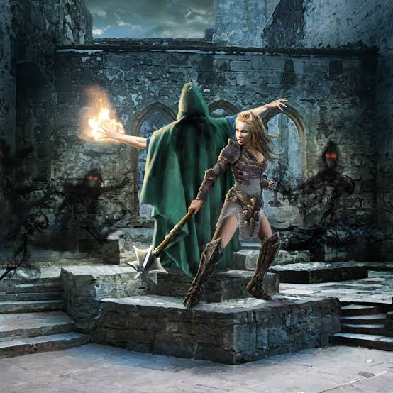 dd-style-medieval-fantasy-rpg-choices-game-delight-games-wizards-choice-inuxus-narrisa-wizard-knight-standing-back-to-back-ready-to-fight