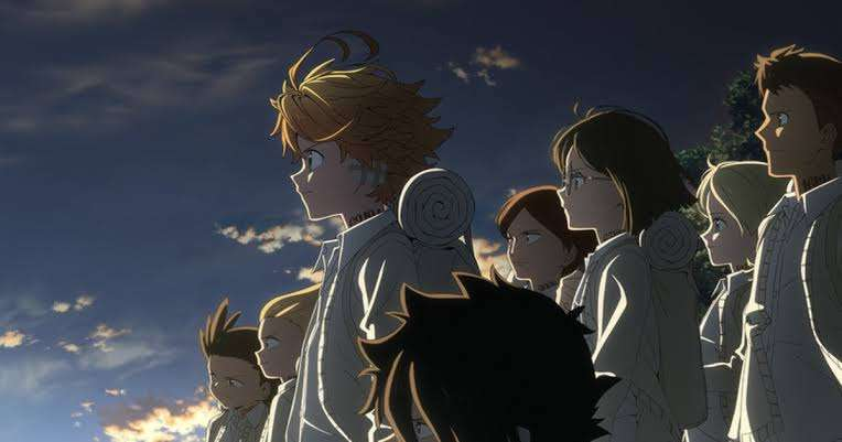 the-promised-neverland-norman-ray-emma-phil-don-lani-thoma-gilda-isabella-anime-girls-boys-staring-out-with-backpacks