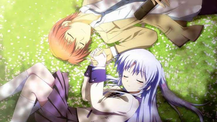 Angel Beats! Kanade Tachibana Yuzuru Otonashi lying in grass facing each other