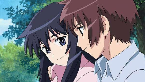 Looking Up At The Half-Moon Rika Akiba Yuuichi Ezaki smiling at each other