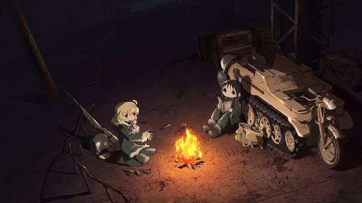 girls-last-tour-chito-yuuri-nuko-next-to-their-tank-around-campfire