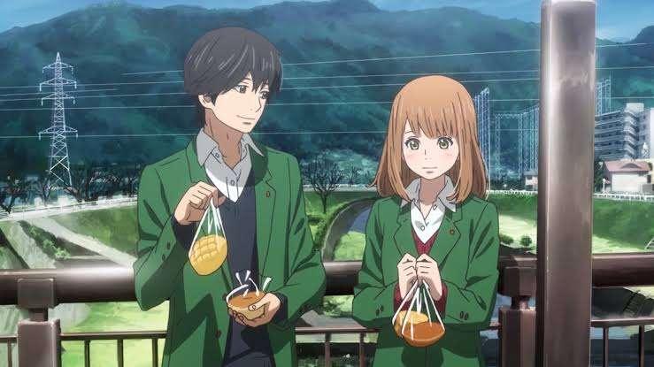 orange anime Kakeru Naruse Naho Takamiya holding their food smiling blushing