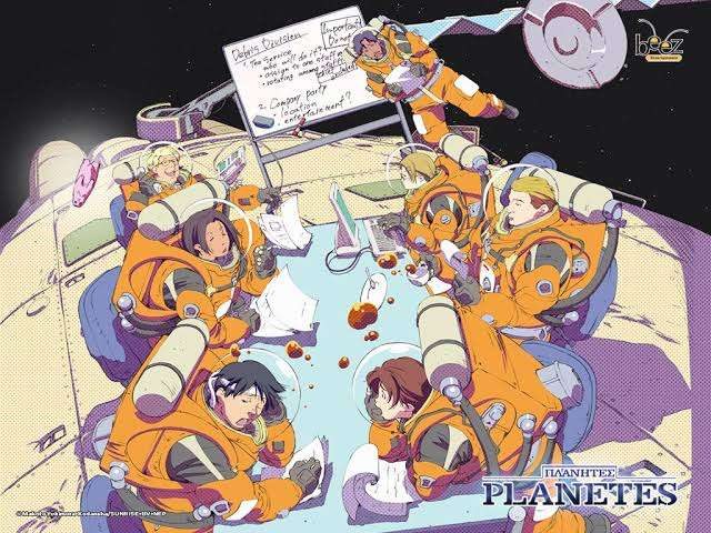 planetes-tanaka-kazunari-tanabe-ai-carmichael-fee-yuri-nono-werner-rivera-edelgard-arvind-phillipe-harry-hakim-meeting-in-space