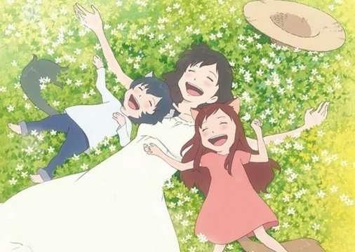 Ookami-Kodomo-no-Ame-to-Yuki-Wolf-Children-hana-ame-yuki-lying-in-grass-laughing