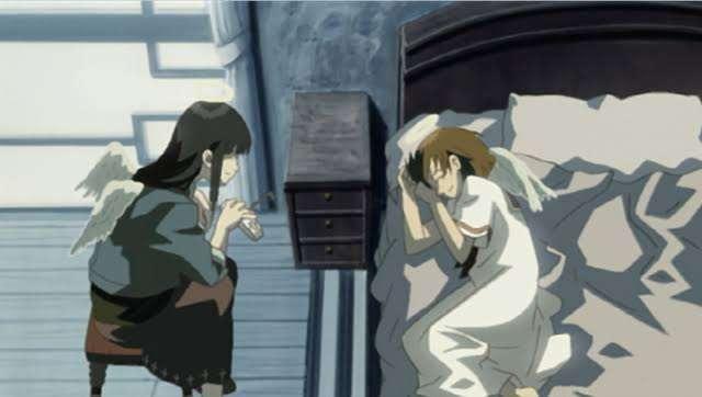 haibane-renmei-reki-rakka-watching-over-her-in-bed-both-laughing