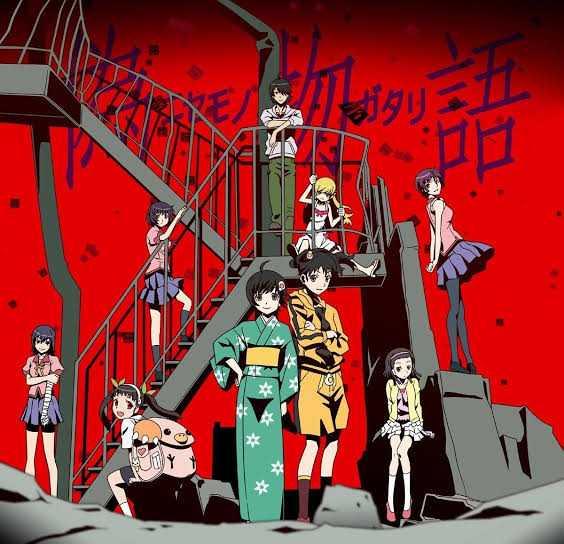 Bakemonogatari Ghostory Hitagi_Senjougahara Koyomi_Araragi Tsubasa_Hanekawa Mayoi_Hachikuji Suruga_Kanbaru Nadeko Sengoku Shinobu Oshino Karen_Araragi Tsukihi_Araragi some of the cast