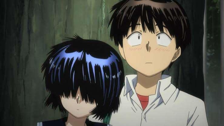 Nazo no Kanojo X Mysterious Girlfriend X Tsubaki Urabe Mikoto resting on his arm