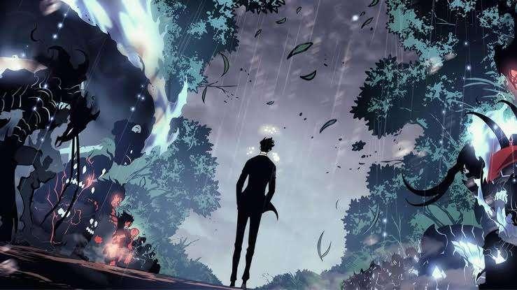 Solo Leveling Webtoon Sung Jin-Woo E-rank Hunter his shadow warriors Shadow Monarch walking through them end of chapter 110