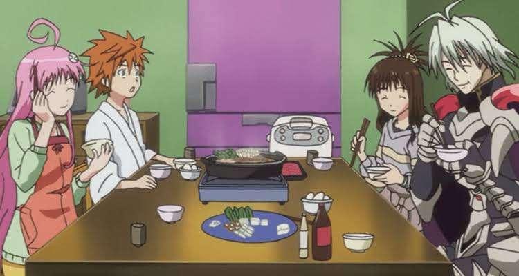 To LOVE-Ru Lala Satalin Deviluke Rito Yuuki Zastin Mikan Yuuki eating hotpot together