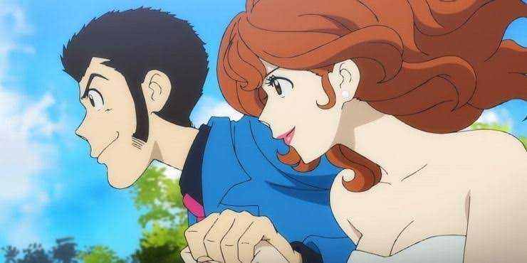 Fujiko Mine Arsene Lupin III holding hands smiling