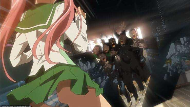 Highschool of the Dead Takagi Saya zombie hoard fanservice