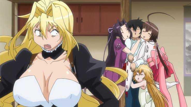 Sekirei Minato Sahashi Kusano Kazehana Musubi hugging Tsukiumi annoyed The 20 Best Fan Service Anime Ever Of All Time