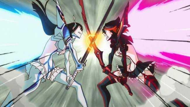 kill la kill Satsuki Kiryuuin Ryuuko Matoi fighting fanservice costumes