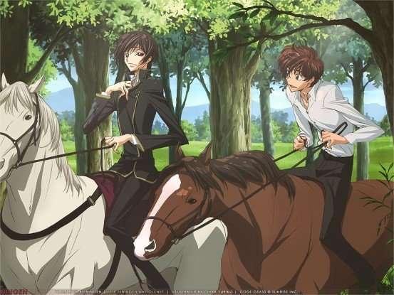 Code Geass Hangyaku no Lelouch (Code Geass Lelouch of the Rebellion) lelouch-suzaku-riding-horses