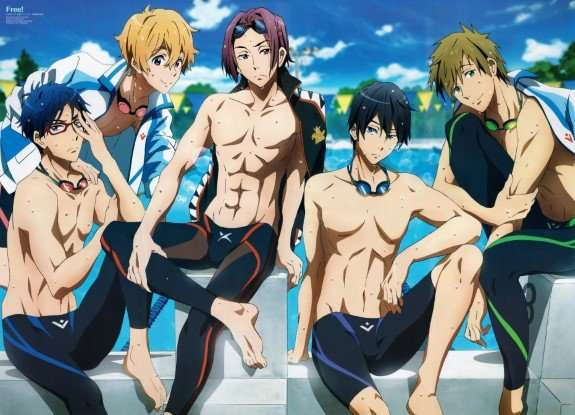 free iwatobi swim club Haruka Nanase Makoto Tachibana Nagisa Hazuki Rei Ryuugazaki Rin Matsuoka abs taking picture best bishie anime
